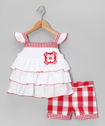 White Ruffle Top & Red Plaid Shorts - Infant & Girls