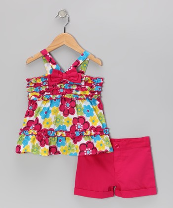 Hot Pink Flower Top & Shorts - Toddler & Girls