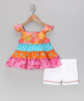 Orange Ruffle Top & White Shorts - Infant & Toddler
