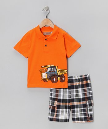 Orange Truck Polo & Plaid Shorts - Toddler & Boys