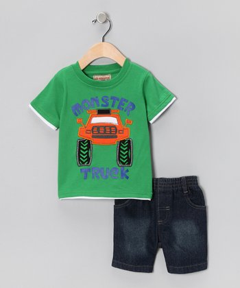 Green 'Monster Truck' Tee & Denim Shorts - Infant