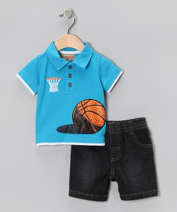 Blue Basketball Polo & Denim Shorts - Toddler & Boys