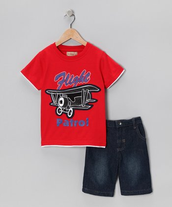 Red Biplane Tee & Denim Shorts - Infant, Toddler & Boys