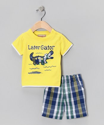 Yellow & Blue Plaid 'Later Gator' Tee & Shorts - Infant