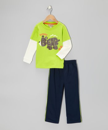 Lime 'Grizzly Bear' Layered Tee & Track Pants - Infant & Toddler