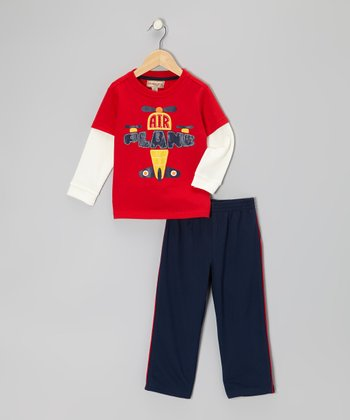 Red 'Airplane' Layered Tee & Track Pants - Infant