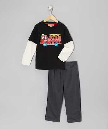 Black 'Fire Truck' Layered Tee & Track Pants - Toddler