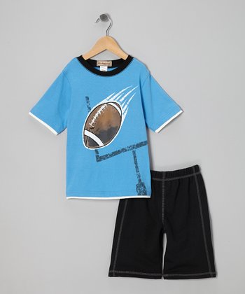 Blue Football Tee & Black Shorts - Infant & Boys