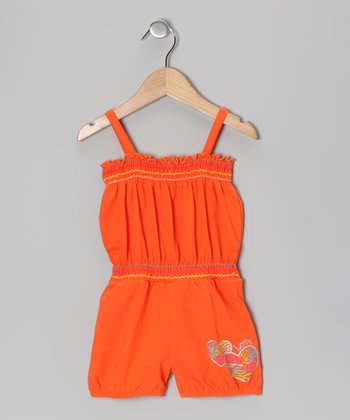 Orange Heart Romper - Infant, Toddler & Girls