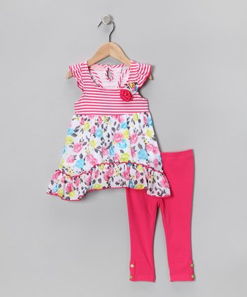 Pink Stripe Floral Tunic & Leggings - Infant, Toddler & Girls