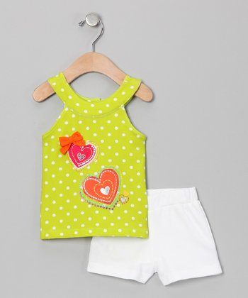 Lime Heart Yoke Tank & White Shorts - Infant, Toddler & Girls