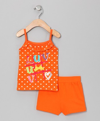 Orange 'LUV' Tank & Shorts - Infant