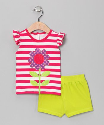 Fuchsia Daisy Top & Lime Shorts - Infant