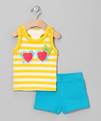 Yellow Heart Tank & Blue Shorts - Infant & Toddler