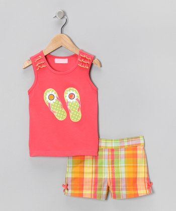 Kids Headquarters Coral Plaid Flip-Flop Tank & Shorts - Infant