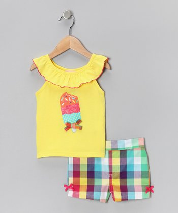 Kids Headquarters Yellow Popsicle Ruffle Tank & Shorts - Infant