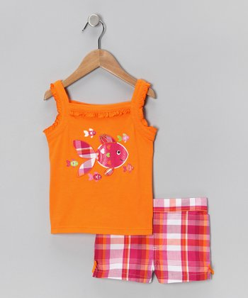 Kids Headquarters Orange Fish Tank & Pink Plaid Shorts - Infant & Girls