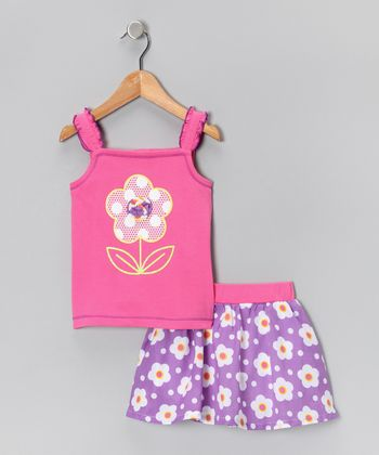 Kids Headquarters Pink & Purple Daisy Tank & Skirt - Infant, Toddler & Girls