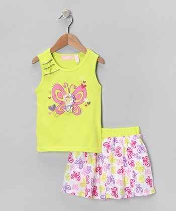 Kids Headquarters Lime & Pink Butterfly Tank & Skirt - Infant, Toddler & Girls