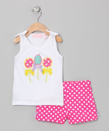 White Lollipop Tank & Pink Polka Dot Shorts - Infant