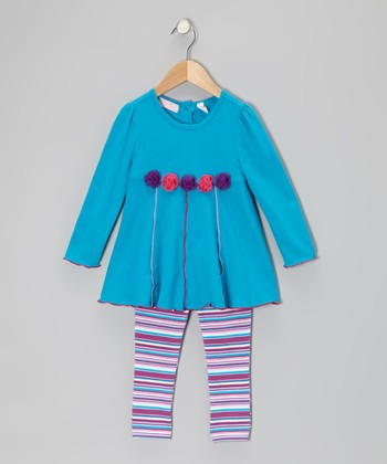 Blue Rosette Tunic & Leggings - Infant, Toddler & Girls