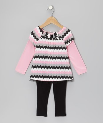 Pink Zigzag Layered Tunic & Black Leggings - Infant
