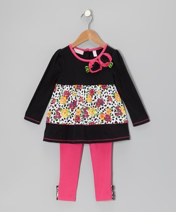 Black Floral Tunic & Pink Leggings - Infant, Toddler & Girls