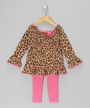 Beige Leopard Tunic & Pink Leggings - Toddler & Girls