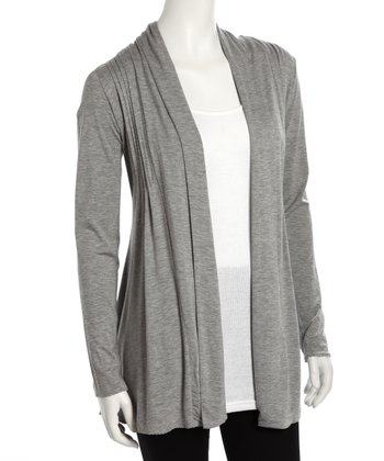 Gray Mélange Pleated Open Cardigan