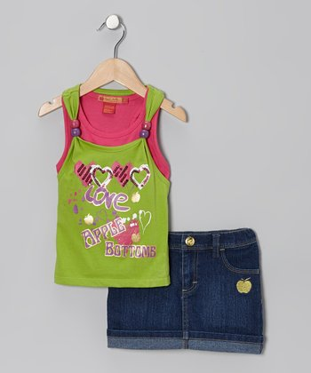 Green 'Love' Layered Tank & Denim Skort - Infant, Toddler & Girls