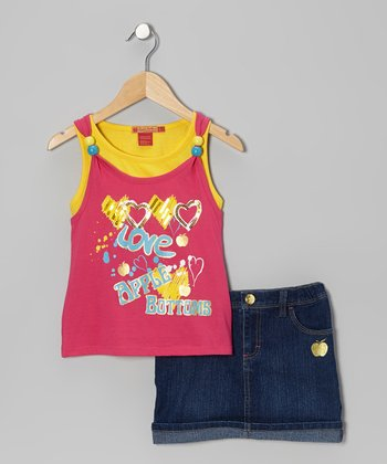 Fuchsia 'Love' Layered Tank & Skort - Infant, Toddler & Girls