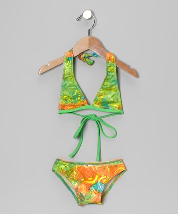 Green Splash Bikini - Toddler & Girls