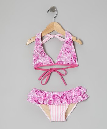 Pink Key West Skirted Bikini - Girls
