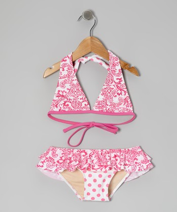 Pink Kapalua Skirted Bikini - Girls