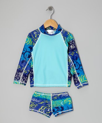 Aqua Under Sea Long-Sleeve Rashguard Set - Girls