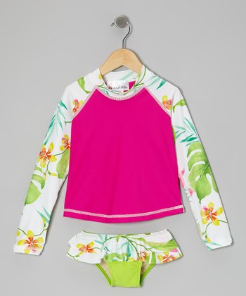 Hot Pink Hilo Hattie Long-Sleeve Rashguard Set - Girls
