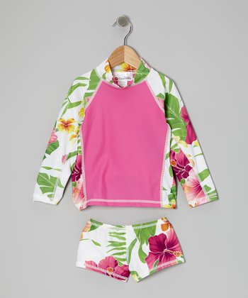 Pink Honolulu Lulu Long-Sleeve Rashguard Set - Toddler & Girls
