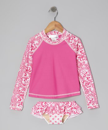 Hot Pink Kapalua Long-Sleeve Rashguard Set - Toddler & Girls