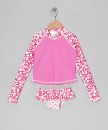 Pink Tahiti Nut Long-Sleeve Rashguard Set - Toddler & Girls