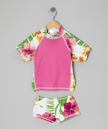 Pink Honolulu Lulu Short-Sleeve Rashguard Set - Girls