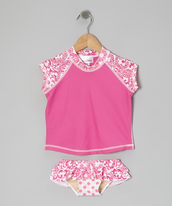 Hot Pink Kapalua Short-Sleeve Rashguard Set - Toddler & Girls