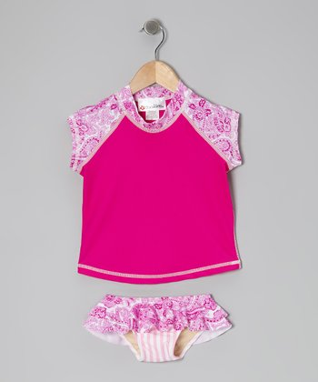 Hot Pink Key West Short-Sleeve Rashguard Set - Toddler & Girls