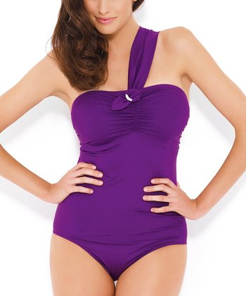 Purple Sophia Asymmetrical Full-Fit One-Piece