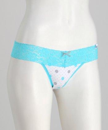 Aqua & White Dot Hollywood Thong