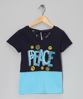 Black & Blue 'Peace' Tie-Back Layered Top