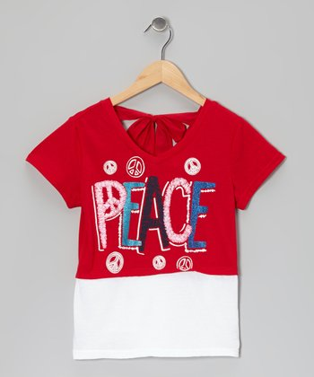 Red & White 'Peace' Tie-Back Layered Top