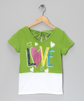 Green & White 'Love' Tie-Back Layered Top - Girls