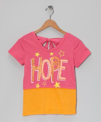 Pink & Orange 'Hope' Tie-Back Layered Top