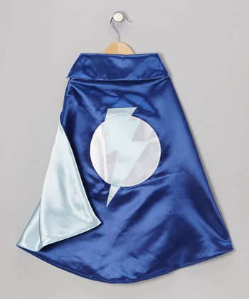 Blue & Light Blue Lightning Leader Two-Ply Hero Cape