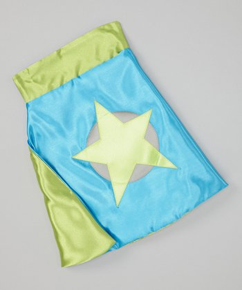 Turquoise & Lime Soaring Star Sidekick Toy Cape
